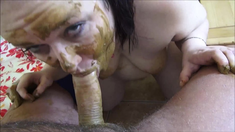 DirtyIvonne - scat submissive woman sucks dick of shit