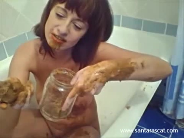 Santara Scat – Dirty kitty plays with her poo and milk